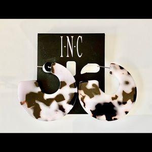 I.n.c. Blush Resin Tortoise Hoop Earrings